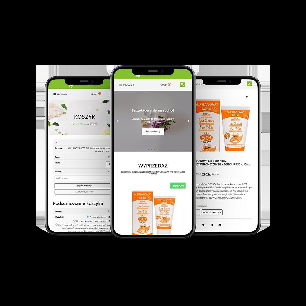 wizualizacja mobilnej wersji strony